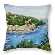 Portofino Majestic Panoramic View Throw Pillow by Marilyn Dunlap