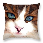 Portrait Of A Cat Throw Pillow by Janine Riley