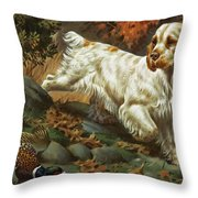 Portrait Of A Clumber Spaniel Hunting Throw Pillow by Walter A. Weber