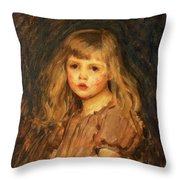 Portrait Of A Girl Throw Pillow by John William Waterhouse