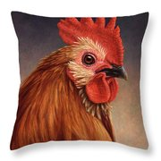 Portrait Of A Rooster Throw Pillow by James W Johnson