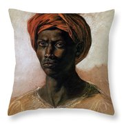 Portrait Of A Turk In A Turban Throw Pillow by Ferdinand Victor Eugene Delacroix