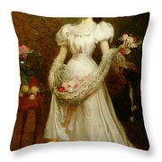 Portrait Of A Woman And Her Greyhound Throw Pillow by English School