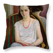 Portrait Of A Woman Throw Pillow by Henri Lebasque