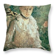 Portrait of a Young Lady Throw Pillow by Berthe Morisot