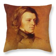 Portrait Of Alfred Lord Tennyson Throw Pillow by Samuel Laurence