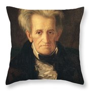 Portrait Of Andrew Jackson Throw Pillow by George Peter Alexander Healy