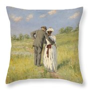 Portrait Of Captain William Holmes And Mary Shafter Mckitterick Throw Pillow by American School