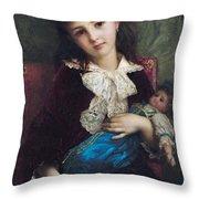 Portrait Of Catherine Du Bouchage Throw Pillow by Antoine Auguste Ernest Hebert