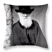 Portrait Of Charles Darwin Throw Pillow by Julia Margaret Cameron