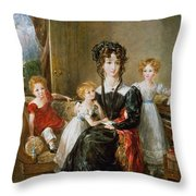 Portrait Of Elizabeth Lea And Her Children Throw Pillow by John Constable