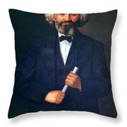 Portrait Of Frederick Douglass Throw Pillow by American School