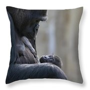 Portrait Of Gorilla Mother Looking Throw Pillow by Karine Aigner