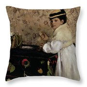 Portrait of Hortense Valpincon as a Child Throw Pillow by Edgar Degas