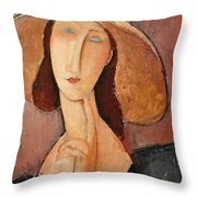 Portrait of Jeanne Hebuterne in a large hat Throw Pillow by Amedeo Modigliani