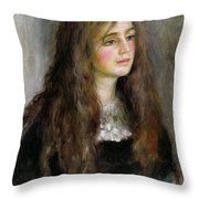 Portrait Of Julie Manet  Throw Pillow by Pierre Auguste Renoir