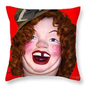 Portrait Of Laffing Sal - Square - 7d14361 - Red Throw Pillow by Wingsdomain Art and Photography