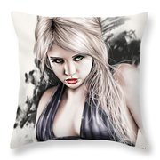 Portrait Of Miss Mosh Throw Pillow by Pete Tapang