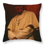Portrait Of Pope John Paul II Throw Pillow by James L. Stanfield