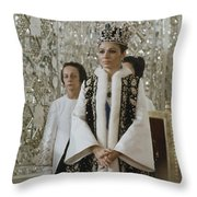 Portrait Of Queen Farah Pahlavi Dressed Throw Pillow by James L. Stanfield