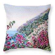 Positano Italy Throw Pillow by Irina Sztukowski