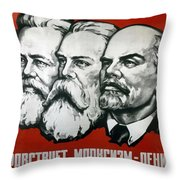 Poster Depicting Karl Marx Friedrich Engels And Lenin Throw Pillow by Unknown
