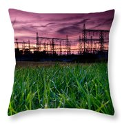 Power Lines Sunset Throw Pillow by Cale Best