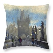 Prague Charles Bridge 06 Throw Pillow by Yuriy  Shevchuk