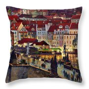 Prague Charles Bridge With The Prague Castle Throw Pillow by Yuriy  Shevchuk