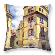 Prague Karlova Street Hotel U Zlate Studny Throw Pillow by Yuriy  Shevchuk