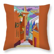 Prague Old Steps Winter Throw Pillow by Yuriy  Shevchuk