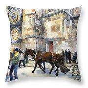 Prague Old Town Square Astronomical Clock or Prague Orloj  Throw Pillow by Yuriy  Shevchuk