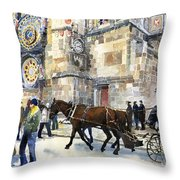 Prague Old Town Square Astronomical Clock Or Prague Orloj  Throw Pillow by Yuriy  Shevchuk