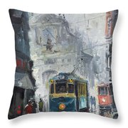 Prague Old Tram 04 Throw Pillow by Yuriy  Shevchuk