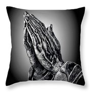 Praying Hands Throw Pillow by Ronald Chambers