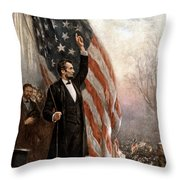 President Abraham Lincoln Giving A Speech Throw Pillow by War Is Hell Store