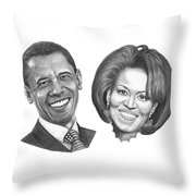 President And First Lady Obama Throw Pillow by Murphy Elliott