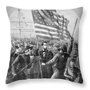 President Lincoln Holding The American Flag Throw Pillow by War Is Hell Store