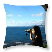 Pretty Girl Looking Through Binoculars Throw Pillow by Yali Shi