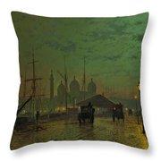 Prince's Dock Hull Throw Pillow by John Atkinson Grimshaw