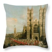 Procession Of The Knights Of The Bath Throw Pillow by Canaletto