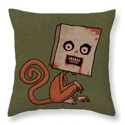 Psycho Sack Monkey Throw Pillow by John Schwegel