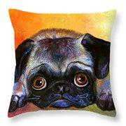 Pug Dog Portrait Painting Throw Pillow by Svetlana Novikova