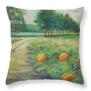 Pumpkin Patch Throw Pillow by Leslie Alfred McGrath