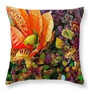 Purple Flowers Throw Pillow by Michael Thomas