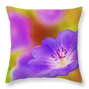 Purple Geranium Throw Pillow by Lanjee Chee