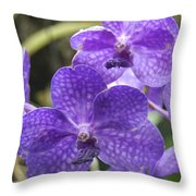 Purple Orchids Throw Pillow by Michael Peychich