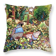 Quails and Blackberries Throw Pillow by Nadi Spencer