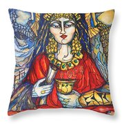 Queen Esther Throw Pillow by Rae Chichilnitsky