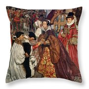Queen Mary and Princess Elizabeth entering London Throw Pillow by John Byam Liston Shaw
